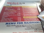 The menu on the Shadapti Express